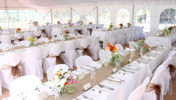 Marquee with trestles & Satin Lining