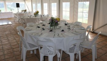 Chairs, cloths, table, crockery Hire